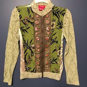 Tops - NOUN Sheer lace floral appliqué zipper blouse NWOT